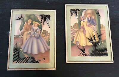 Vintage Reverse Painted Bubble Glass Victorian Couple Framed Pictures Convex
