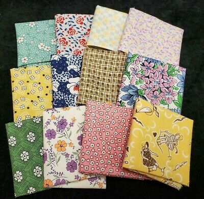 12 Cotton Quilt Doll Fabric Feedsack Reproduction 40s Fat 16th Craft Pack Stash