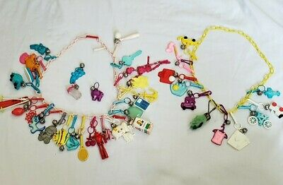 Vintage Rare 80s Bell Charms Chain Necklace Plastic Clip 1980s Charm Lot Loaded