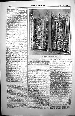 Old Print Pair Wrought Iron Gates Hill Smith Hodkinson Architecture 1890 19th
