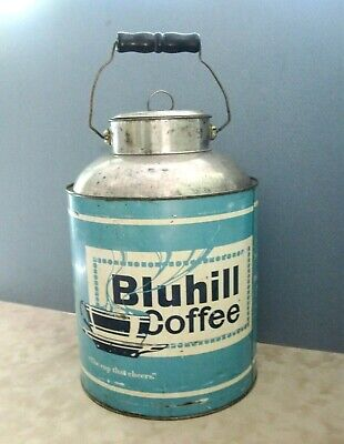 Rare Vintage 5# Bluhill Coffee Tin w/Lid-Handle-Martin Bros-Denver Colo Tin,