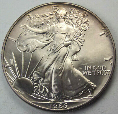 1986 $1 American Silver Eagle 1 Troy Ozt. Fine .999 Coin - Key Date, Toning