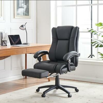 Executive Office Chair Footrest PU Leather Padded Swivel Recliner Computer Seat