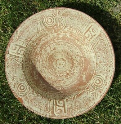 Large Ancient Mycenaean Greek terracotta decorated bowl 1600-1100 bc