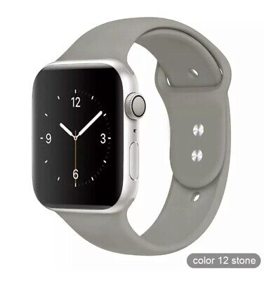 Apple Watch 42mm, 44mm Talla ML Series 1 2 3 4 5 Correa silicona Gris Gray