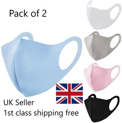 Pack of 2 Face Mask / Covering Washable & Reusable. Fast Delivery From UK! Quick