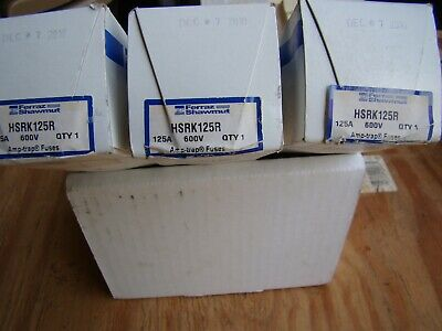 Fuses HSRK125R  125Amp 600v AMP-trap New in Box. All three ship for same price.