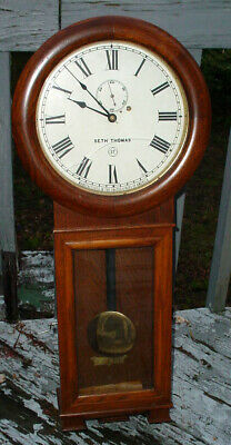 "Semi Vintage 36"" Weight Driven Oak Seth Thomas No. 2 Railroad Wall Clock N/R"