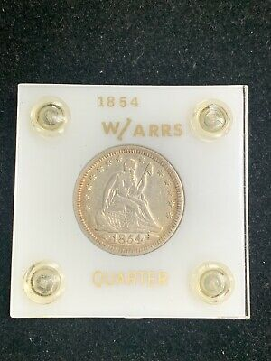 1854 Seated Liberty Quarter 25C Arrows Lustrous XF Cleaned Pretty -Box 1