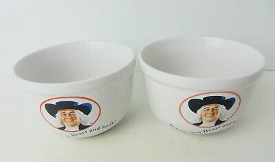 """Vtg Houston Harvest """"Warms You Heart And Soul"""" Quaker Oats Bowls Lot of 2  #4630"""