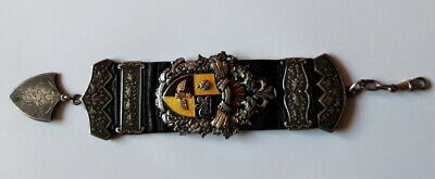 Pocket watch leather strap Silver and Gold coat of arms LATVIAN Patriotic RARE