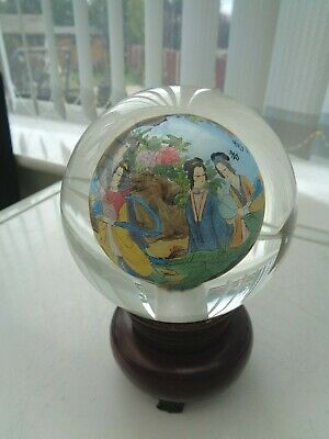 Vintage Chinese Inner Painted Heavy Glass Ball Wooden Stand Geisha Girls