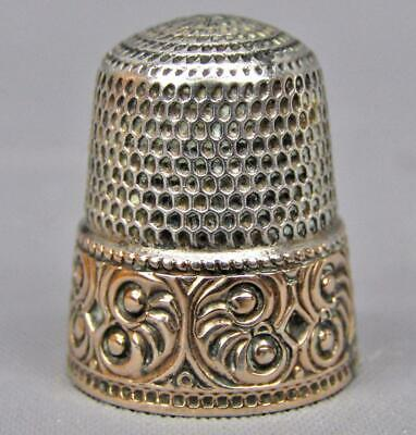 Stern Brothers STERLING SILVER w/ GOLD BAND Trademarked #10 Thimble 7569