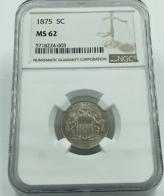 1875 NGC MS62 Shield Nickel Tough To Find