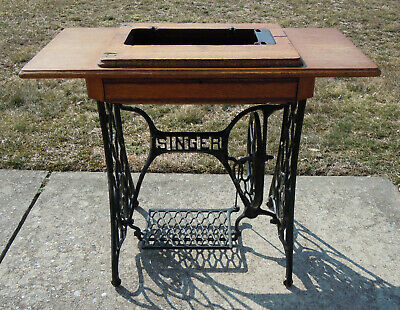 Antique Singer Sewing Machine Base Stand Wood & Cast Iron Treadle Foot Pedal