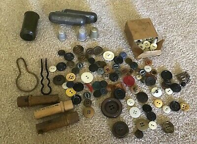 Lot of Vintage Sewing 50+ Buttons 3 Wooden Needle Cases Thimbles, Cases & More