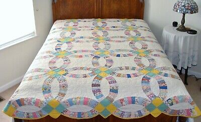 Vintage Wedding Ring Quilt Feed Sack Patchwork Cotton Fabric