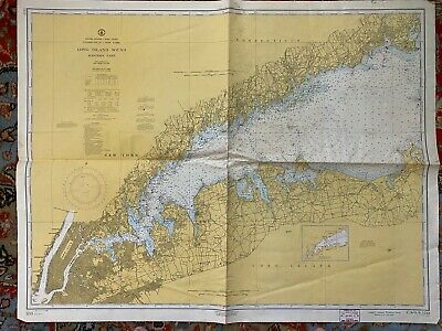 Vintage - 1964 - Long Island Sound(Western Part) Navigational Map Chart No. 1213