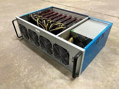 8 GPU RX580 Cryptocurrency Mining Rig 215-225 MH/s Ethereum w/ Ethos 1800w Gold