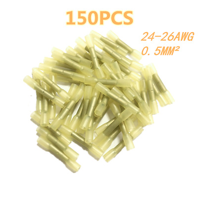 150PCS Heat Shrink Butt Crimp Connector Electrical Wire Terminal 24-26AWG Yellow