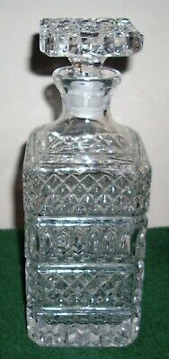Vintage Bohemian Cut Crystal Decanter with stopper Bar Whisky Scotch Liquor