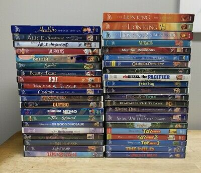 Huge Kids DVD Lot ALL DISNEY TITLES Toy Story Lion King Cinderella Dumbo Nemo