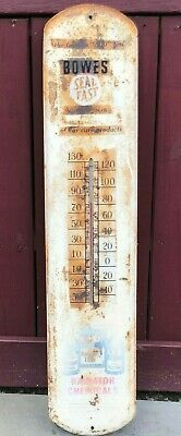"""50's Vintage """"Bowes Seal Fast Auto Products"""" Thermometer Working Condition"""