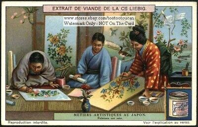 Japanese Art Of Painting On Silk BEAUTIFUL 1920s Trade Ad Card
