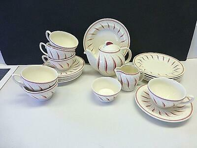 21pc Wedgwood PINK FERN Susie Cooper Tea Set for 6 Teapot Plate Cup & Saucer