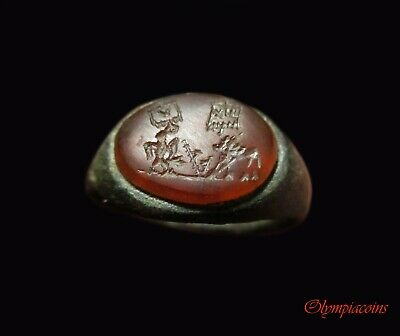 ** OUTSTANDING  ** Ancient Roman Bronze  LEGIONARY ring ** EAGLE & LION **