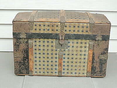 Antique Small Dome Top Trunk Steamer Wooden Chest - Breininger Estate