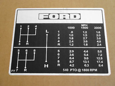 Shift Pattern Decal For Ford Decals 2000 2600 3000 3400 3600 Industrial 231 531