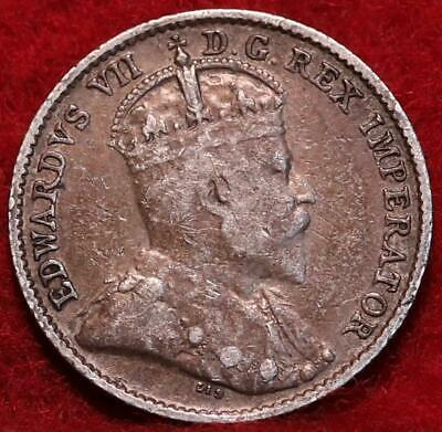 1909 Canada 5 Cents Silver Foreign Coin