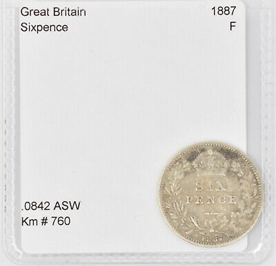 1887 Great Britain Silver Sixpence (Km #760)