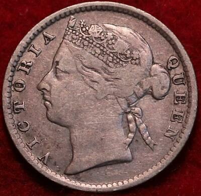 1895 Straits Settlements 10 Cents Silver Foreign Coin