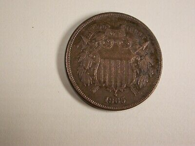 1865 Two Cent Piece  Full Shield Lines Full Motto