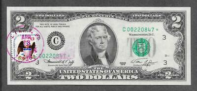 1976 C STAR + STAMP - $2 UNC 1st. Day Issue Replacement Note