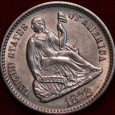 Uncirculated 1872 Philadelphia Mint Silver Seated Half Dime