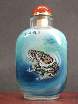 Chinese Frog Lotus Flower Inside Hand Painted Man Made Crystal Snuff Bottle