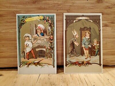 1870's St. Louis Magazine French Scene Kids Victorian Trade Cards Pair (2)