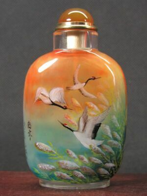Chinese Six Crane Inside Hand Painted Man Made Crystal Snuff Bottle:Gift Box