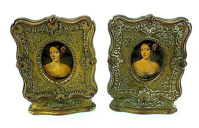 Antique Vintage SYROCO WOOD Victorian Style Portrait Picture Frame BOOKENDS Pair