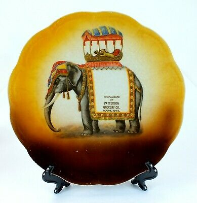 Antique PATTERSON GROCERY BOONE IOWA Porcelain ELEPHANT Plate ADVERTISING
