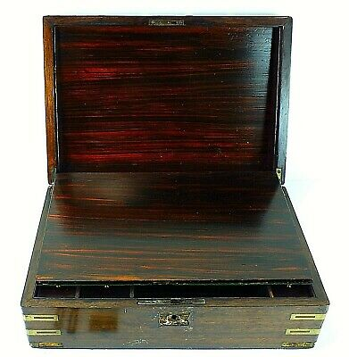 Antique Wooden TRAVEL LAP DESK With Brass Fitting Inlays & REDWOOD With KEY