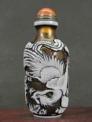 Chinese Phoenix Carved Peking Overlay Glass Snuff Bottle