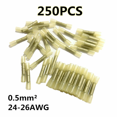 250PCS Heat Shrink Butt Crimp Connector Electrical Wire Terminal Yellow 24-26AWG