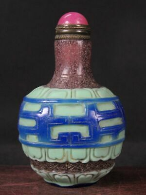 Chinese Dragon Pattern Carved Peking Overlay Glass Snuff Bottle