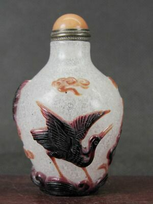 Chinese Three Crane Lotus Flower Carved Peking Overlay Glass Snuff Bottle