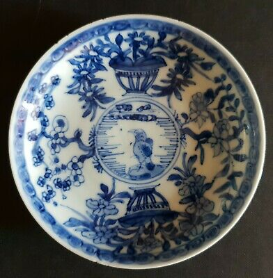 19thc Chinese Blue & White Porcelain Saucer - Crow on a Rocky Outcrop