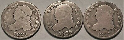 Lot of (3) Capped Bust Dimes 1821 1823 1827, Better Dates, Type Coins Silver 10C